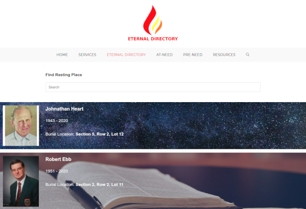 eternal directory - wordpress plugin - cemetary and funeral homes